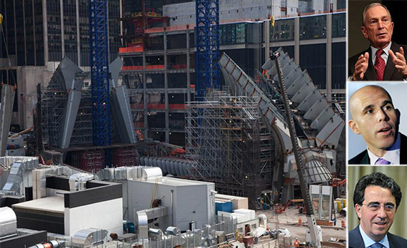 From left: WTC transit hub construction, Michael Bloomberg, Scott Rechler and Santiago Calatrava