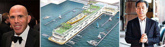 From left: Scott Rechler, Pier 57 rendering and Young Woo