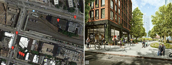 From left: Properties to be seized on map and Pacific Park Brooklyn rendering