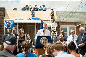 Mayor Bill de Blasio at press conference on Superstorm Sandy recovery