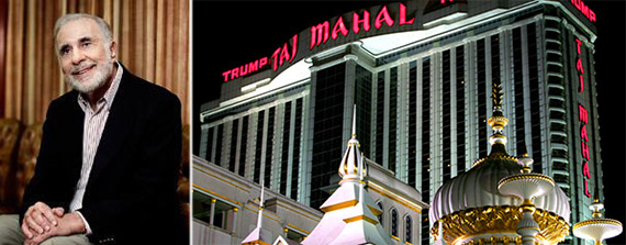 From left: Carl Icahn and Trump Taj Mahal in Atlantic City