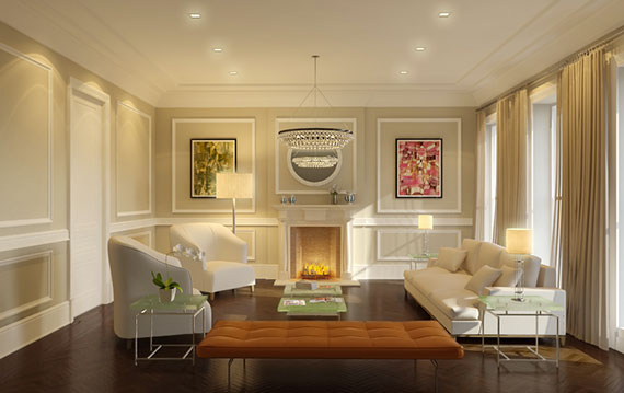 Rendering of the living room at 28 Monroe Street