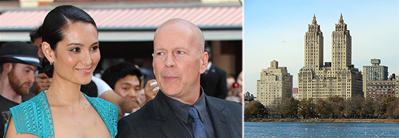 From left: Emma Heming, Bruce Willis and the Eldorado on the Upper West Side