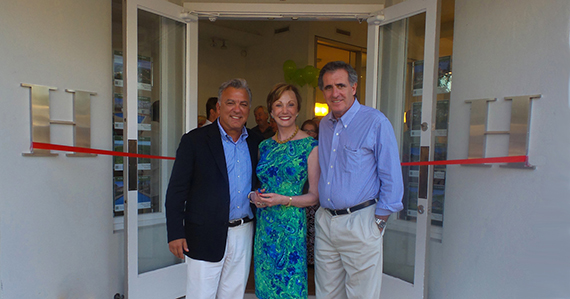 From left: Anthony DeVivio, Diane Ramirez, David Burris in front of the new Halstead Office in East Hampton