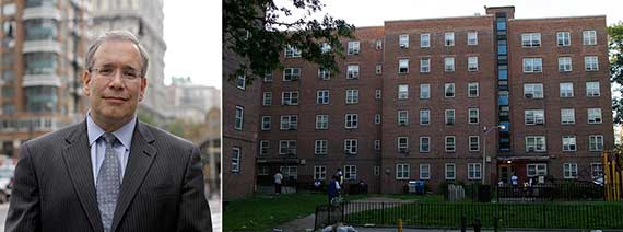 From left: Scott Stringer and New York City Housing Authority housing