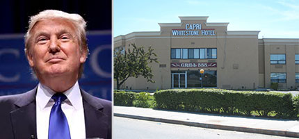 From left: Donald Trump and the Capri Whitestone Hotel