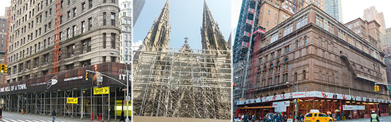 Scaffolding outside 175 Fifth Avenue, St. Patrick's Cathedral on Fifth Avenue between 50th and 51st streets and 881 Seventh Avenue