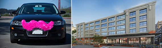 From left: the Lyft mustache and the Falchi building in Long Island City
