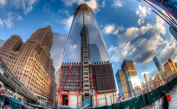 One World Trade Center under construction in 2011 (Credit: Eric Bowers via Flickr)