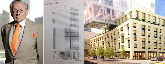 From left: Developer Larry Silverstein, a drawing of 1 West End Avenue and a rendering of 10 Freedom Place