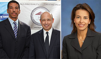 From left: BRP managing partner Geoff Flournoy with Lloyd Blankfein and Dina Powell