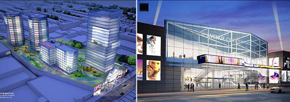 Model and rendering of Eighth Avenue Center