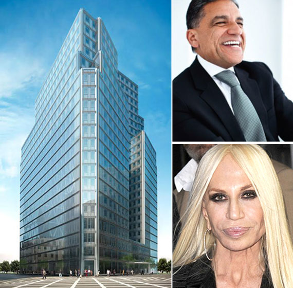 From left: a rendering of 3 Columbus Circle, Joe Moinian and Donatella Versace