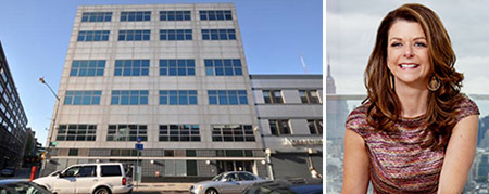 From left: The former structure at 625 Fulton Street (via PropertyShark) and MaryAnne Gilmartin of Forest City Ratner