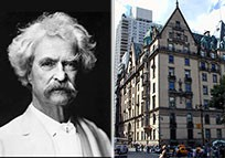 From left: Mark Twain and the Dakota on the Upper West Side