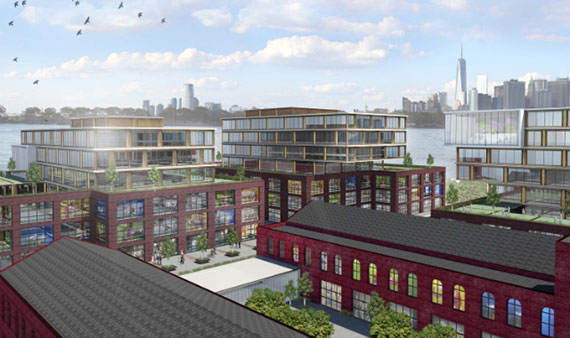 Rendering of a new office complex in Red Hook
