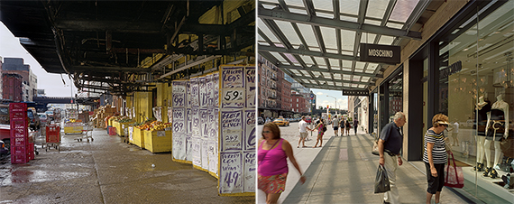 West 14th Street in 1985 and 2013, courtesy of Brian Rose, from Metamorphosis: Meatpacking District 1985 + 2013