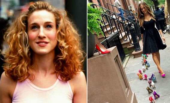 From left: Sarah Jessica Parker as Carrie Bradshaw and Parker in front of 66 Perry Street