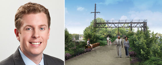From left: Michael Tortorici and a rendering of the QueensWay