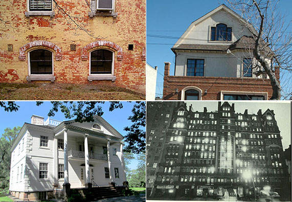 Clockwise: Matron's Cottage at Snug Harbor, 2137 East 9th Street in Gravesend, the Chelsea Hotel and the Morris Jumel Mansion