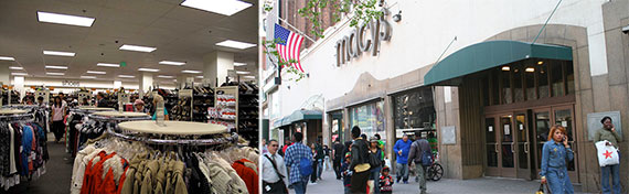 From left: Nordstrom Rack and Macy's