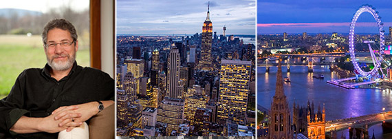 From left: Jonathan Rose, New York City skyline and London skyline