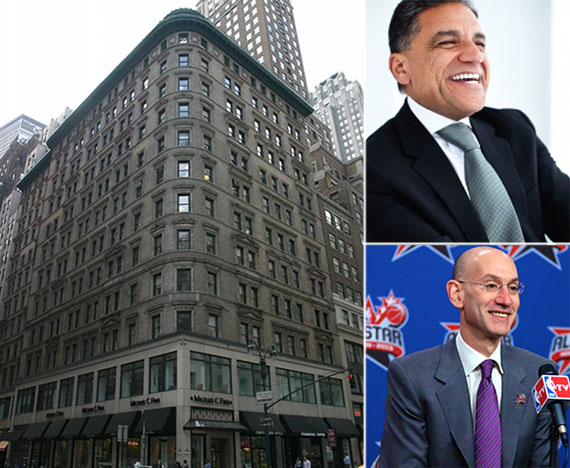 Clockwise from left: 545 Fifth Avenue, Joseph Moinian and Adam Silver