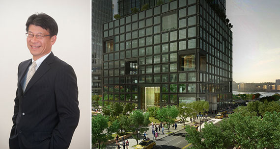 From left: Mitsui's Yukio Yoshida and a rendering of 55 Hudson Yards