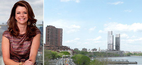From left: Forest City's MaryAnne Gilmartin and a rendering of East River Plaza