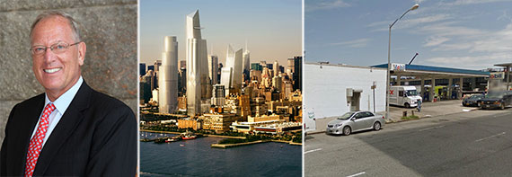 From left: Jeffrey Levine, rendering of Hudson Yards and the lot at 29th Street and 11th Avenue