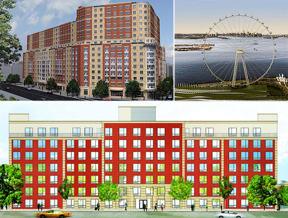 Clockwise from left: renderings of 848 East 149th Street, the New York Wheel on Staten Island and 1680 Pelham Parkway