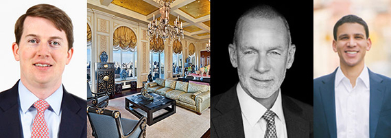 From left: Kyle Blackmon, the $88M penthouse at 15 CPW, Hall Willkie and Robert Reffkin