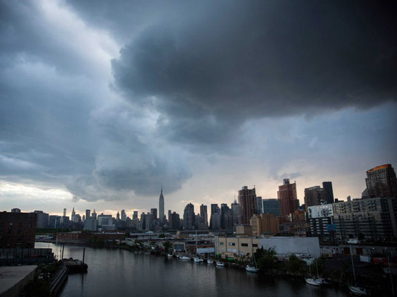 A storm over the Manhattan skyline