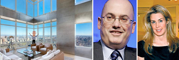 From left: The duplex at One Beacon Court, Steve Cohen and Serena Boardman