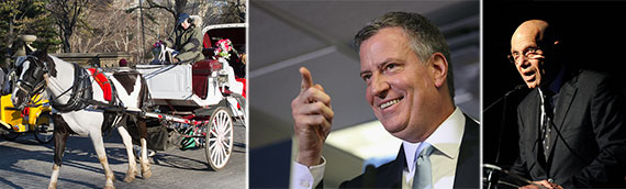 From left: horse carriage in Central Park, Mayor Bill de Blasio and Stephen Nislick