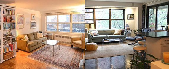 From left: a $2,500-a-month studio at 401 East 74th Street and a one-bedroom at 383 Grand Street asking $3,300 a month