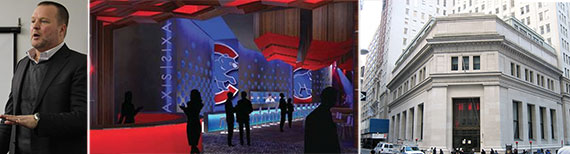 From left: Brent Brown, rendering of the interior of 23 Wall Street and the exterior of 23 Wall Street