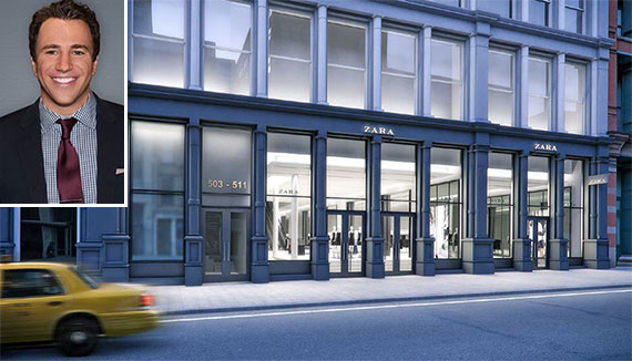 David Ash and a rendering of the Zara store at 503 Broadway