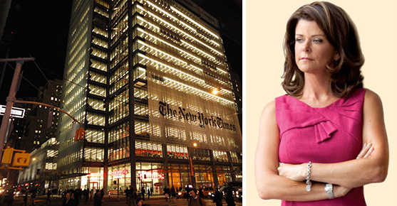 The New York Times building at 620 Eighth Avenue and MaryAnne Gilmartin