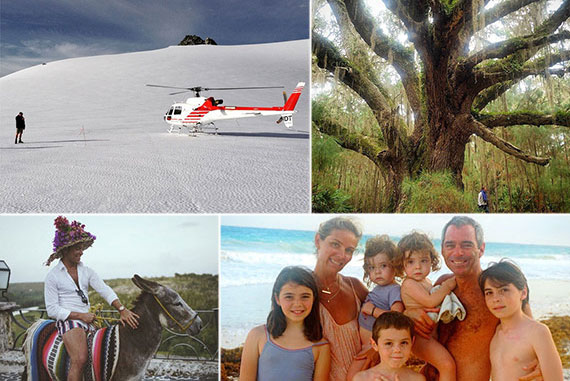 Clockwise from top left: Bjarke Ingels touring New Zealand, Robin Zendell on Cumberland Island, Danny Davis and family, and Luis D. Ortiz