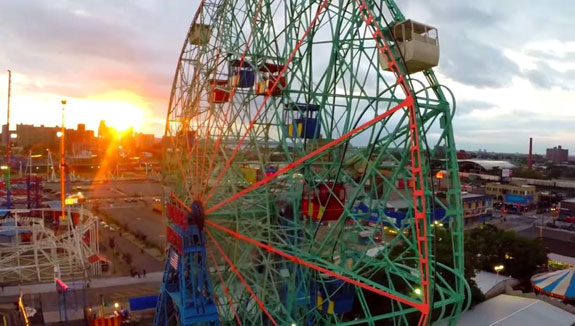 A still of the Coney Island Ferris Wheel in Victor Chu's video.
