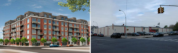 From left: a former rendering for the location and 1560 60th Street