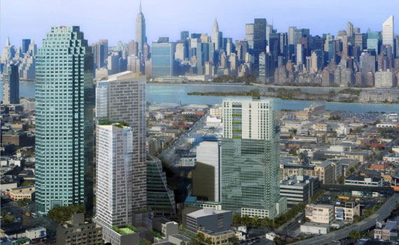 Rendering of new developments in Long Island City's Court Square neighborhood