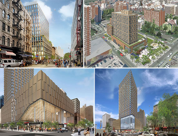 Renderings for four new buildings at Essex Crossing on the Lower East Side