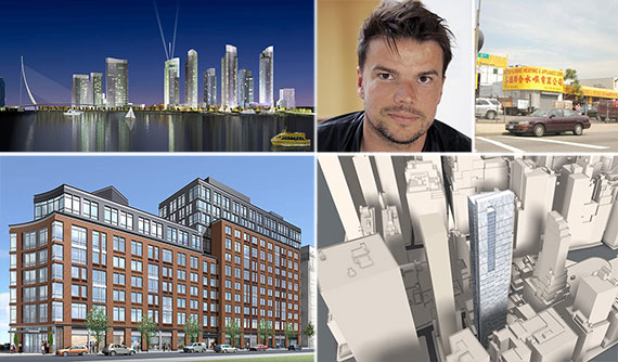 Clockwise from left: Greenpoint Landing, Bjarke Ingels, 1134-03 35th Avenue in Queens, 111 Washington Street and 810 Fulton Street