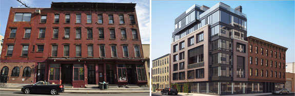 119-123 Kent Avenue and a rendering for a building proposed last year at the site