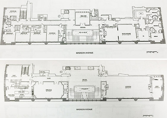 From top: The upper and middle levels of 550 Madison Avenue (Credit: E.B. Solomont)