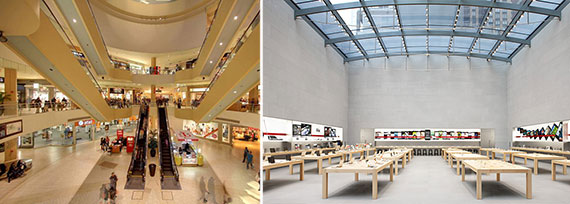 From left: Queens Center Mall and the interior of an Apple store