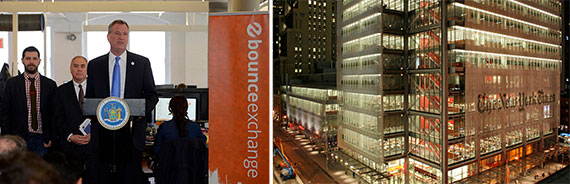 From left: Bill de Blasio in the Bounce Exchange office in 2013 and the New York Times Building