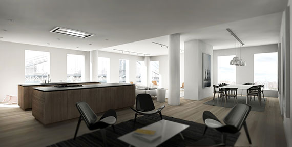 Rendering of penthouse E at One John Street in Dumbo